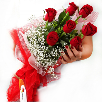 flower delivery turkey 7 Red Roses Bouquet