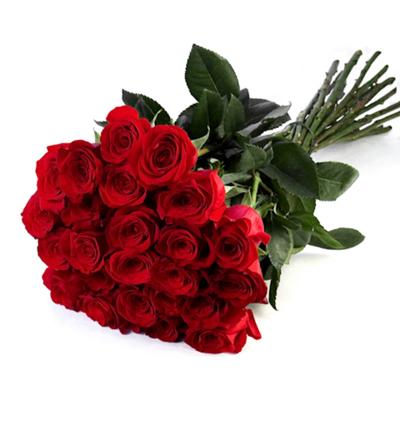 beyaz Çiçeklerden buket 25 Kırmızı Gül Buketi