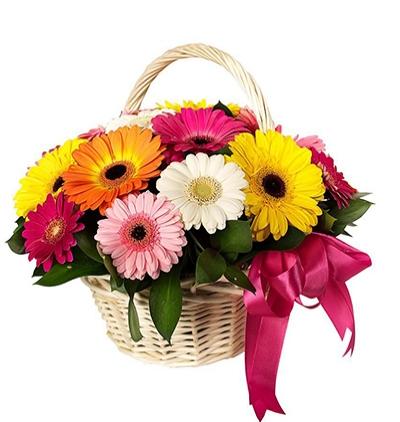 Çiçek Sepette Mevsim Çiçekleri