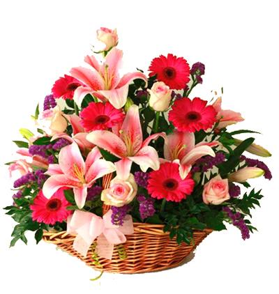 gerbera ve lisyantus buketi Mevsim Çiçekleri Aranjmanı