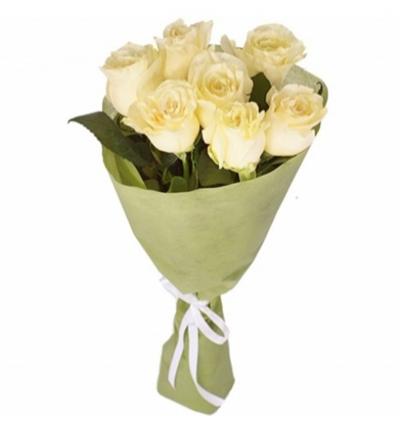 lilyum ve mevsim Çiçekleri 7 Beyaz Gül Buketi