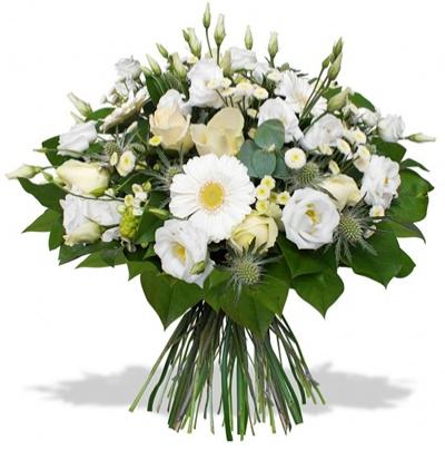 pembe lisyantus buketi Beyaz Çiçeklerden Buket