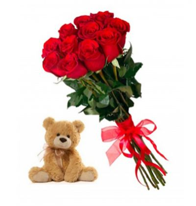 flower delivery turkey 11 Red Roses and Teddy