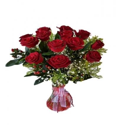 beyaz Çiçeklerden buket Vazo İçinde 11 Kırmızı Gül